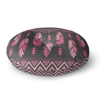 Amanda Lane Painted Feathers Tribal Round Floor Pillow Size: 23 x 23, Color: Dark Pink