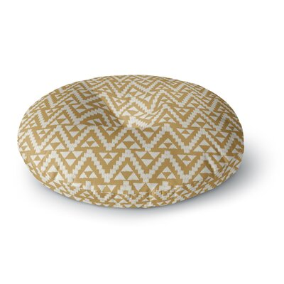 Amanda Lane Geo Tribal Tribal Round Floor Pillow Size: 26 x 26, Color: Yellow