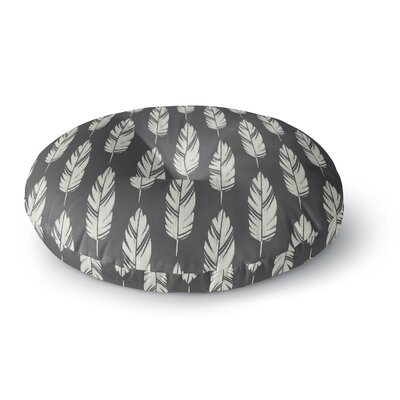 Amanda Lane Feathers Pattern Round Floor Pillow Size: 26 x 26, Color: Black/Cream