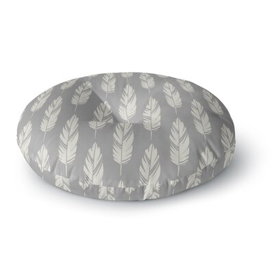 Amanda Lane Feathers Pattern Round Floor Pillow Size: 23 x 23, Color: Gray/Cream