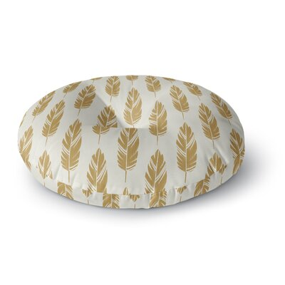 Amanda Lane Feathers Pattern Round Floor Pillow Size: 23 x 23, Color: Yellow/Cream