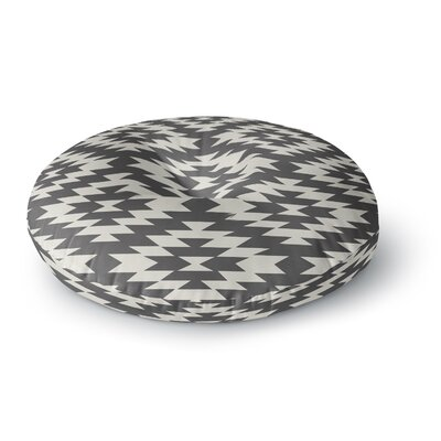 Amanda Lane Navajo Tribal Geometric Round Floor Pillow Size: 26 x 26, Color: Black/Cream