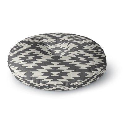 Amanda Lane Navajo Tribal Geometric Round Floor Pillow Size: 23 x 23, Color: Black/Cream