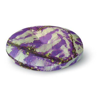 Anne LaBrie Tiger Love Round Floor Pillow Size: 26 x 26, Color: Purple/Yellow