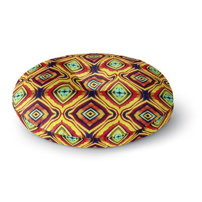 Anne LaBrie Diamond Round Floor Pillow Size: 23 x 23, Color: Yellow/Red