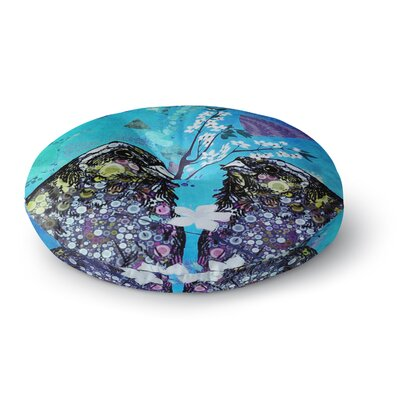 Alyzen Moonshadow Birds in Love Round Floor Pillow Size: 26 x 26, Color: Navy/Purple