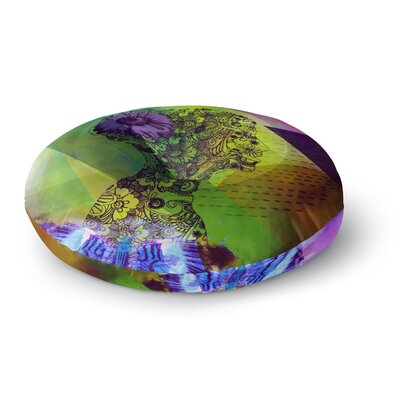 Alyzen Moonshadow Silhouette Round Floor Pillow Size: 23 x 23, Color: Green/Purple