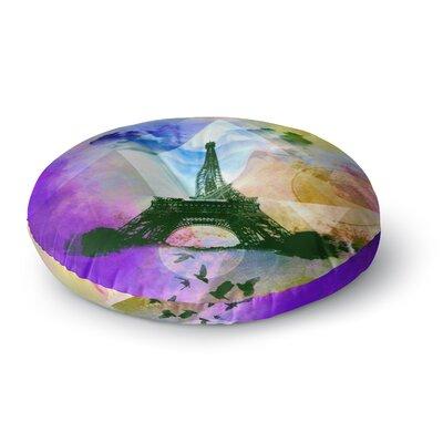 Alyzen Moonshadow Eiffel Tower Round Floor Pillow Size: 23 x 23, Color: Purple