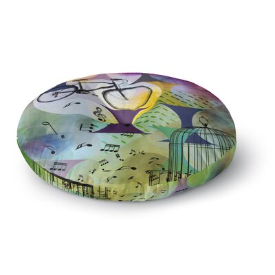 Alyzen Moonshadow Bike to The Moon Round Floor Pillow Size: 26 x 26