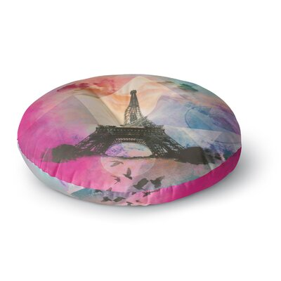 Alyzen Moonshadow Eiffel Tower Round Floor Pillow Size: 23 x 23, Color: Deep Pink