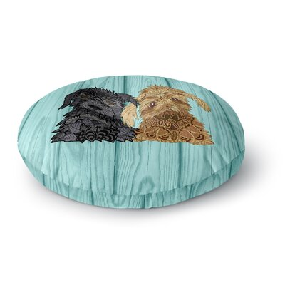 Art Love Passion Daisy and Gatsby Abstract Puppies Round Floor Pillow Size: 26 x 26