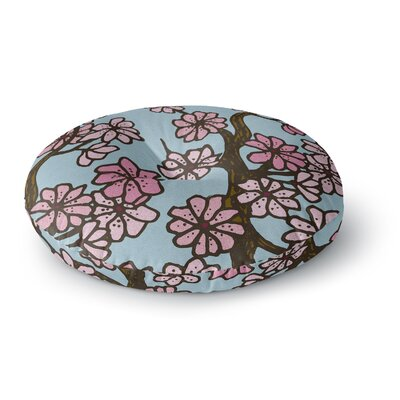 Art Love Passion Cherry Blossom Day Floral Illustration Round Floor Pillow Size: 23 x 23, Color: Floral