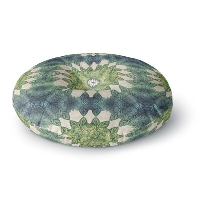 Art Love Passion Forest Leaves Repeat Geometric Round Floor Pillow Size: 26 x 26