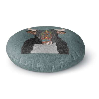 Art Love Passion Steve The Bull Round Floor Pillow Size: 26 x 26, Color: Teal/Brown