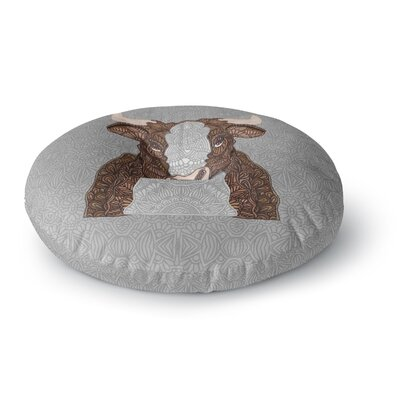 Art Love Passion Steve The Bull Round Floor Pillow Size: 23 x 23, Color: Gray/Brown