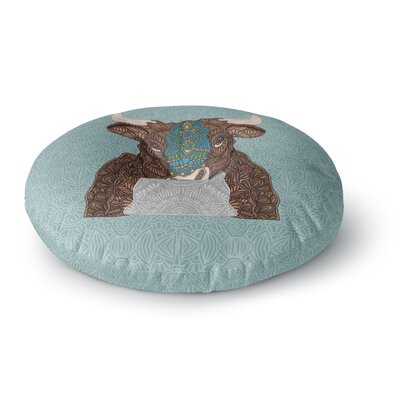 Art Love Passion Steve The Bull Round Floor Pillow Size: 23 x 23, Color: Brown/Gray