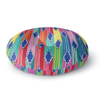 Anneline Sophia Blanket Rainbow Tribal Round Floor Pillow Size: 26 x 26