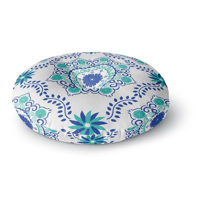 Anneline Sophia Lets Dance Floral Round Floor Pillow Size: 26 x 26, Color: Blue