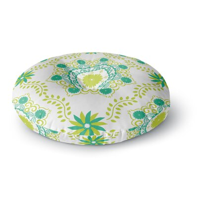 Anneline Sophia Lets Dance Floral Round Floor Pillow Size: 26 x 26, Color: Green