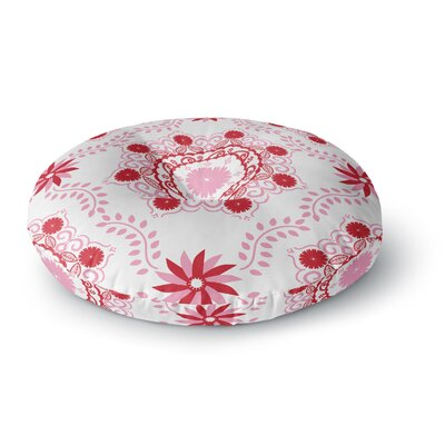 Anneline Sophia Lets Dance Floral Round Floor Pillow Size: 23 x 23, Color: Red