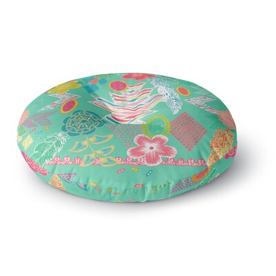 Anneline Sophia Aztec Boho Round Floor Pillow Size: 23 x 23, Color: Gray