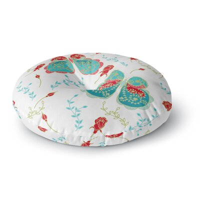 Anneline Sophia Dotty Papercut Circles Round Floor Pillow Size: 23 x 23, Color: Red