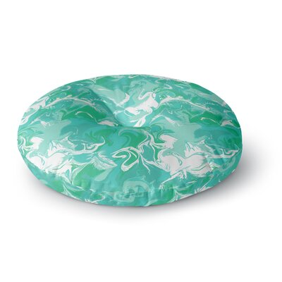 Anneline Sophia Marbleized in Round Floor Pillow Size: 26 x 26, Color: Teal/Aqua