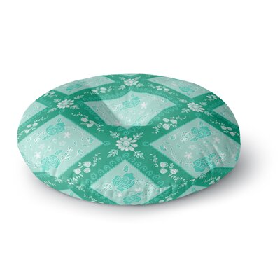 Anneline Sophia Diamonds Round Floor Pillow Size: 23 x 23, Color: Aqua/White