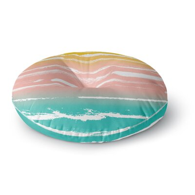 Anneline Sophia Painted Stripes Peach Round Floor Pillow Size: 26 x 26, Color: Green/Pink