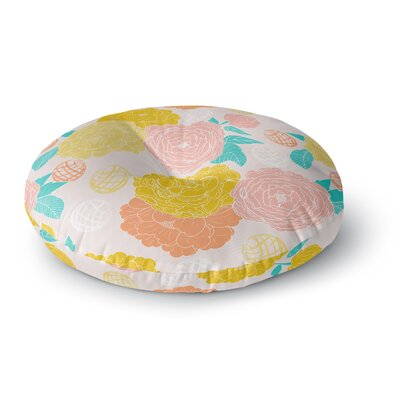 Anneline Sophia Peonies Peach Round Floor Pillow Size: 23 x 23, Color: Peach/Teal