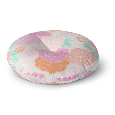 Anneline Sophia Peonies Peach Round Floor Pillow Size: 26 x 26, Color: Yellow/Pink