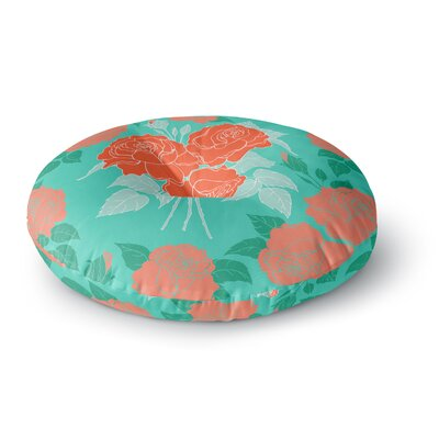 Anneline Sophia Summer Rose Lavender Round Floor Pillow Size: 23 x 23, Color: Green/Orange