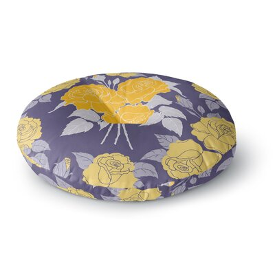 Anneline Sophia Summer Rose Lavender Round Floor Pillow Size: 23 x 23, Color: Purple/Yellow