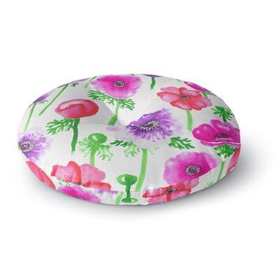 Anneline Sophia Anemones Flowers Round Floor Pillow Size: 26 x 26