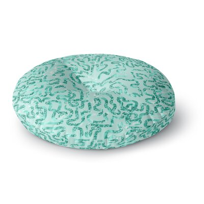 Anneline Sophia Squiggles in Abstract Round Floor Pillow Size: 23 x 23, Color: Green
