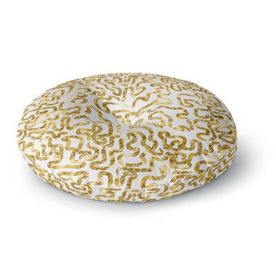 Anneline Sophia Squiggles in Abstract Round Floor Pillow Size: 26 x 26, Color: Yellow/White