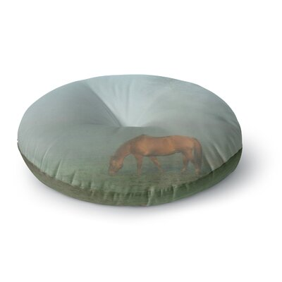 Angie Turner Horse in Fog Mist Round Floor Pillow Size: 23 x 23