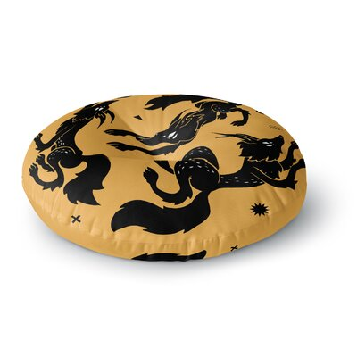 Anya Volk Dancing Wolves Abstract Round Floor Pillow Size: 23 x 23