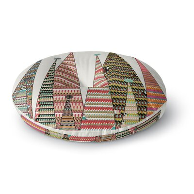 Bri Buckley Feather Peaks Rainbow Triangles Round Floor Pillow Size: 23 x 23