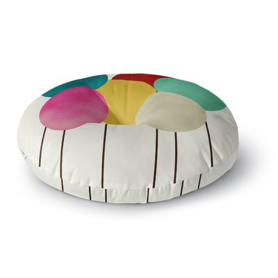 Bri Buckley Celebration Rainbow Circles Round Floor Pillow Size: 26 x 26