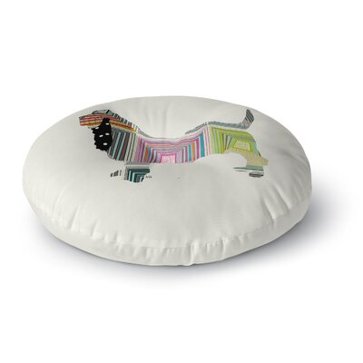 Bri Buckley Basset Rainbow Round Floor Pillow Size: 23 x 23