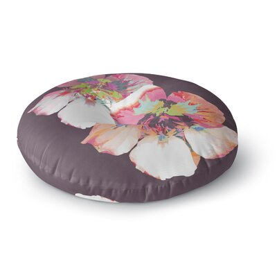 Love Midge Graphic Flower Nasturtium Floral Round Floor Pillow Size: 23 x 23, Color: Lavender