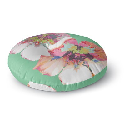 Love Midge Graphic Flower Nasturtium Floral Round Floor Pillow Size: 26 x 26, Color: Green