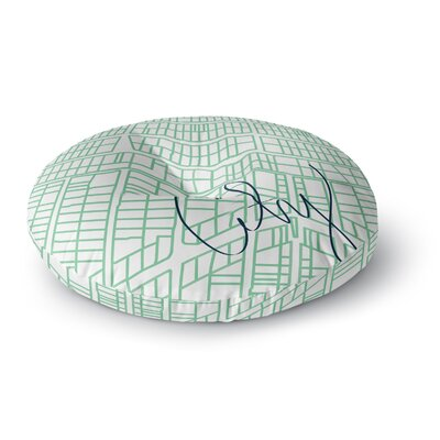 Love Midge City Streets & Parcel Maps Travel Round Floor Pillow Size: 26 x 26, Color: Green