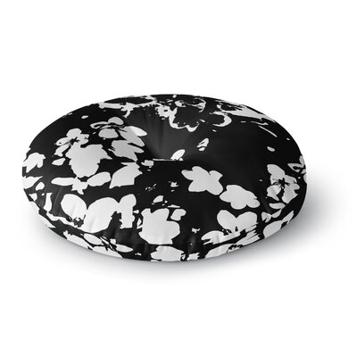 Love Midge Helena Floral Floral Modern Round Floor Pillow Size: 26 x 26, Color: Black/White