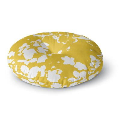Love Midge Helena Floral Floral Modern Round Floor Pillow Size: 23 x 23, Color: Gold/White