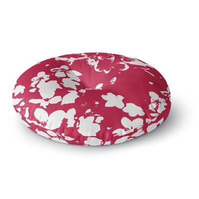 Love Midge Helena Floral Floral Modern Round Floor Pillow Size: 26 x 26, Color: Red/White