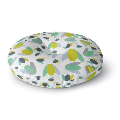 Love Midge 1970s Floral Geometric Neon Abstract Round Floor Pillow Size: 26 x 26, Color: Green/Yellow