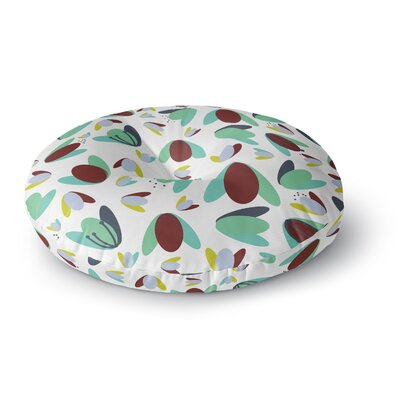Love Midge 1970s Floral Geometric Neon Abstract Round Floor Pillow Size: 26 x 26, Color: Green/Brown