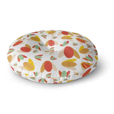 Love Midge 70s Retro Floral Nature Round Floor Pillow Size: 26 x 26